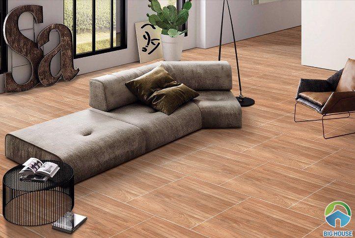 Gạch giả gỗ màu tối ấm áp