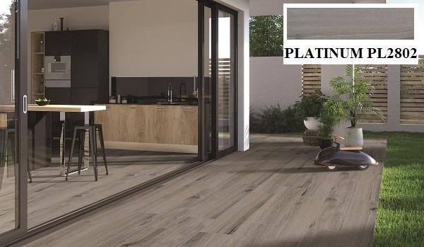 Mẫu gạch vân gỗ Viglacera PL2802 được làm từ chất liệu bán sứ có tông màu xám trung tính