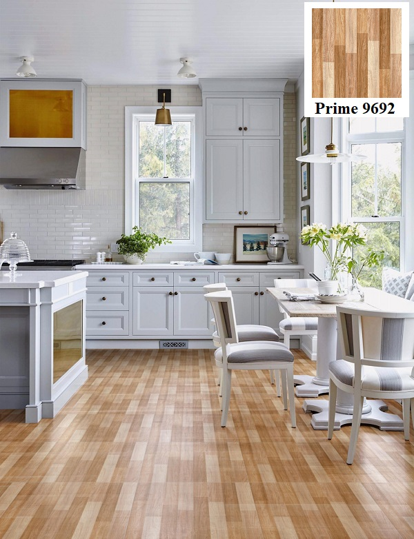 Phòng bếp ứng dụng mẫu gạch giả gỗ Prime 9692 có kích thước 60x60