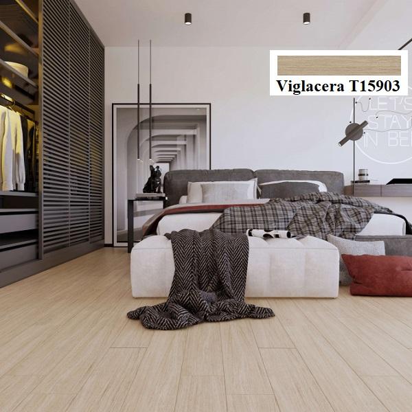 Mẫu gạch vân gỗ 15x90 Viglacera T15903 với bề mặt nhám chống trơn được thiết kế cho phòng ngủ
