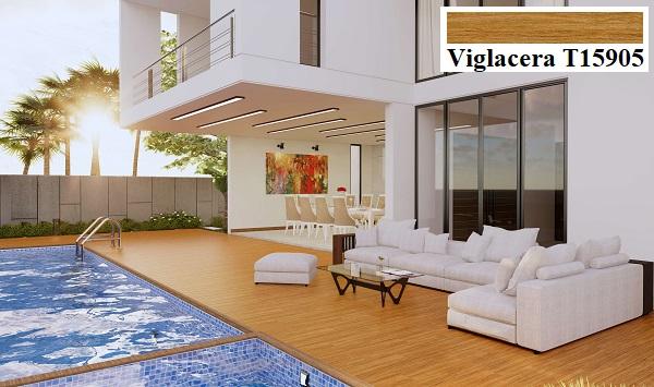 Sử dụng gạch lát nền vân gỗ Viglacera T15905 cho khu vực ngoài trời là lựa chọn của nhiều gia đình