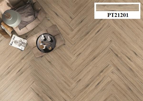 Lát mẫu gạch giả gỗ Viglacera PT21201 kiểu xương cá mang lại nét chấm phá cho phòng khách
