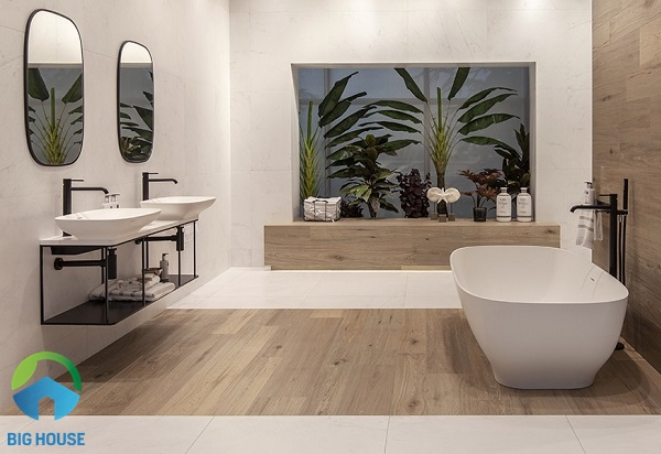 gạch lát nền nhà tắm vân gỗ lịch sự