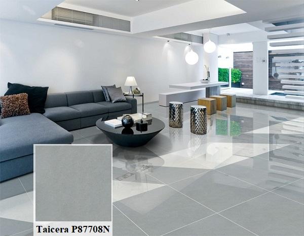 Ngoài ra, bạn có thể sử dụng gạch Taicera P87708N xám ghi lát nền phòng khách hiện đại, rộng rãi