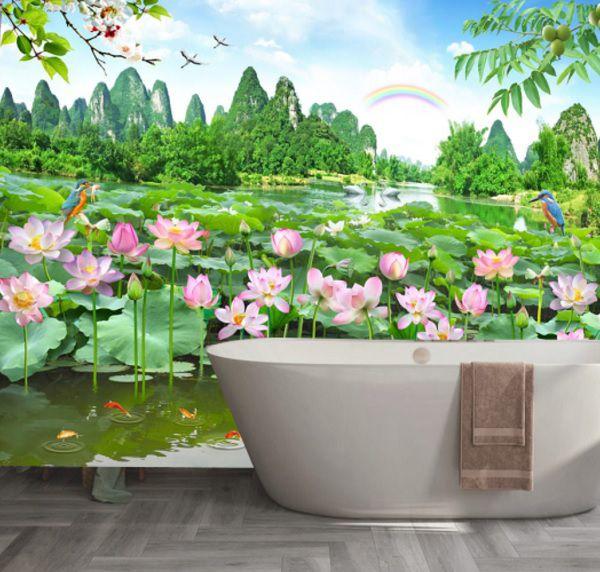 Mẫu gạch hồ sen 3d ốp nhà tắm tươi mới