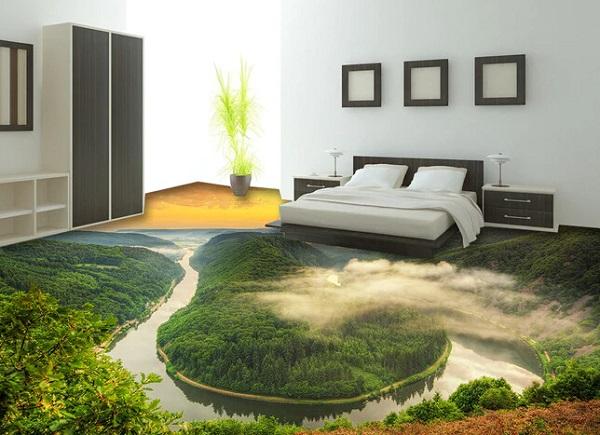 Gạch lát nền 3d cho phòng ngủ độc đáo