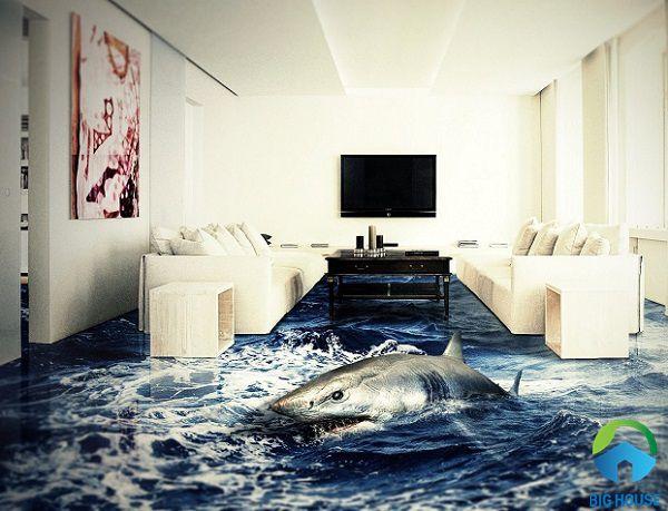 Gạch 3D đại dương hoang dã, ấn tượng cho phòng khách