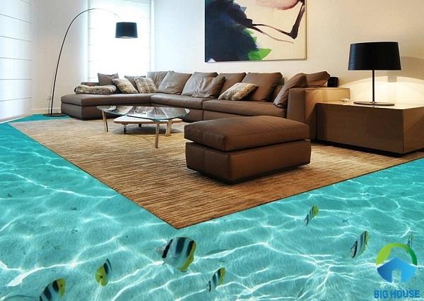 Phòng khách nhà bạn như được xây dựng trên mặt hồ cá ấn tượng