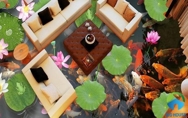 Mẫu gạch 3D hồ sen kết hợp hồ cá KOI ấn tượng