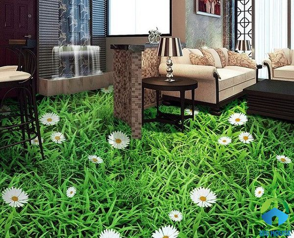 gạch 3d lát nền phòng khách 2 họa tiết hoa cỏ bắt mắt