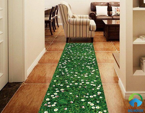 Mẫu gạch lát  3d thảm cỏ mang đến không gian gần gũi tự nhiên