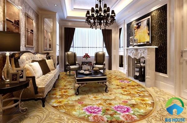 Gạch lát nền 3d hình hoa hồng mang đến không gian rực rỡ sắc màu cho phòng khách