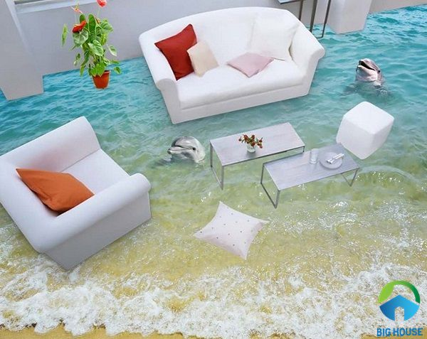 mẫu gạch lát nền 3d phòng khách đẹp mắt