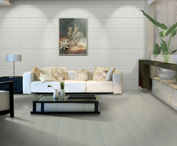 Những không gian có diện tích lớn như phòng khách, phòng ngủ nên sử dụng gạch kích thước 50x50,60x60