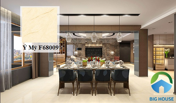 Gạch Ý Mỹ F68009 lát nền không gian phòng khách thông với nhà bếp
