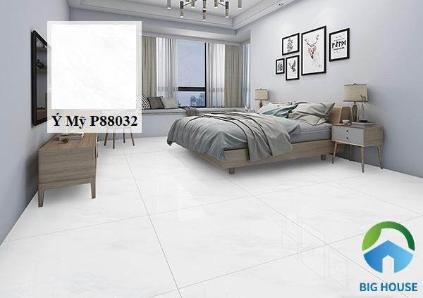 Mẫu gạch giả đá tông màu trắng P88032 của Ý Mỹ thích hợp với những gia chủ yêu thích sự đơn giản