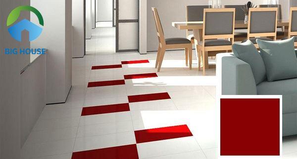 Gạch Đồng Tâm 428 40x40 đỏ tươi lát xen kẽ gạch trắng tạo điểm nhấn cho phòng khách