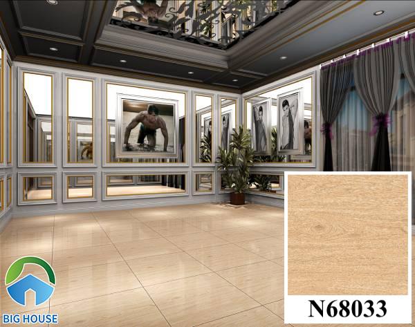 Gạch lát nền màu nâu đất vân gỗ Ý Mỹ N68033