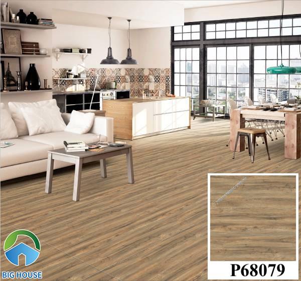 Gạch lát nền màu nâu đất vân gỗ Ý Mỹ P68079