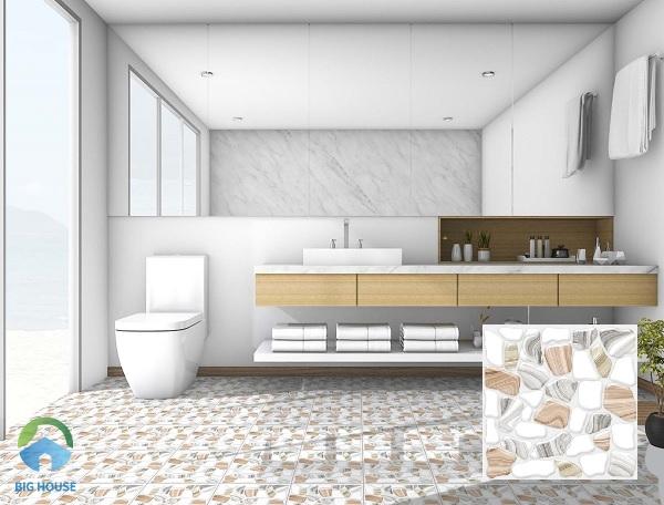 Mẫu gạch lát nền Ý Mỹ ÝN332S kích thước 30x30 cm phù hợp với những không gian nhỏ hẹp như nhà tắm, nhà vệ sinh. Đây là một trong những mẫu gạch giả sỏi hiện đang được bán rất chạy tại Big House. Tone ghi xám cùng với nâu nhạt toát lên vẻ đẹp hiện đại.