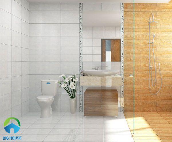 gạch lát nền nhà tắm chống trơn màu trắng