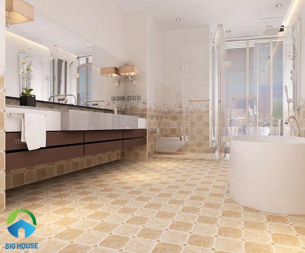 gạch lát nền nhà tắm chống trơn màu cam ấm