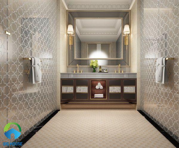 gạch lát nền nhà tắm chống trơn họa tiết ô vuông