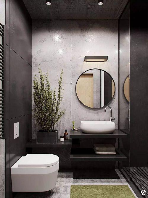 Sử dụng gạch tông đen trắng, giúp nhà tắm nhỏ vẫn sang trọng