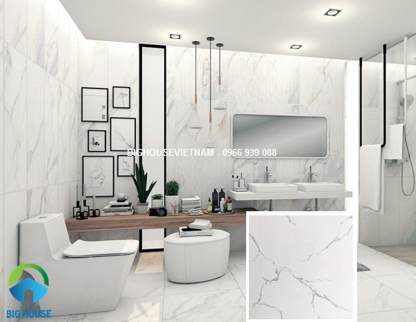 Mẫu gạch lát nhà vệ sinh trắng tinh tế