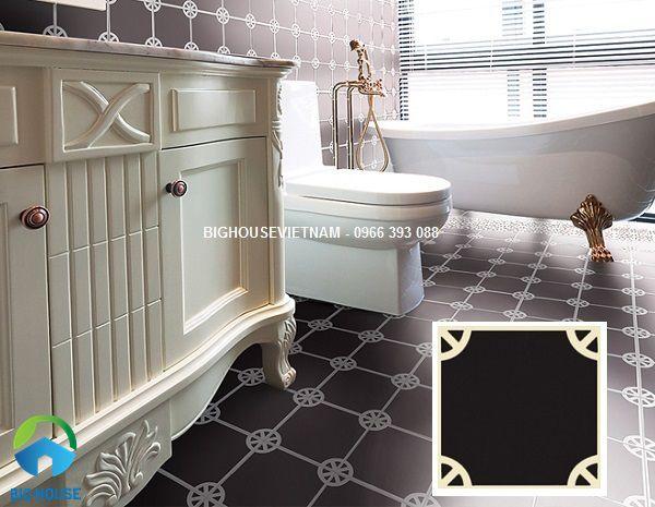 gạch lát nền nhà vệ sinh màu đen độc đáo