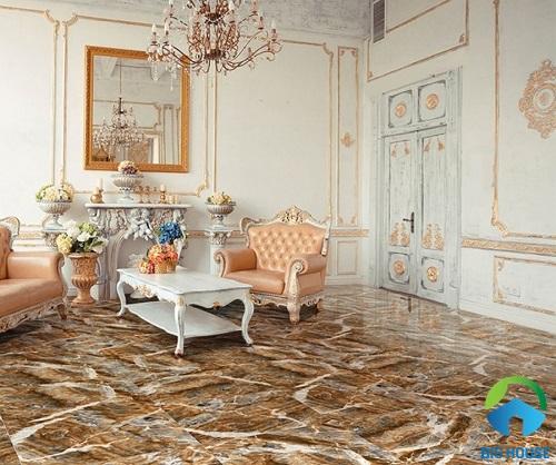 Gach vân đá là lựa chọn tuyệt vời mang đến sự sang trọng cho phòng khách