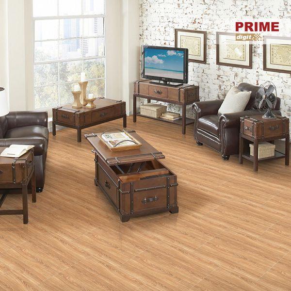 Mẫu gạch lát phòng khách vân gỗ 60x60 càng thêm sang trọng với đồ nội thất gỗ