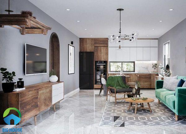 Gạch lát nền màu ghi xám giúp mở rộng không gian phòng khách