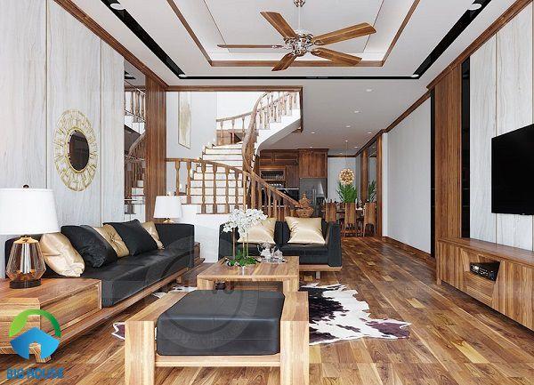 gạch lát vân gỗ sang trọng cho phòng khách nhà ống