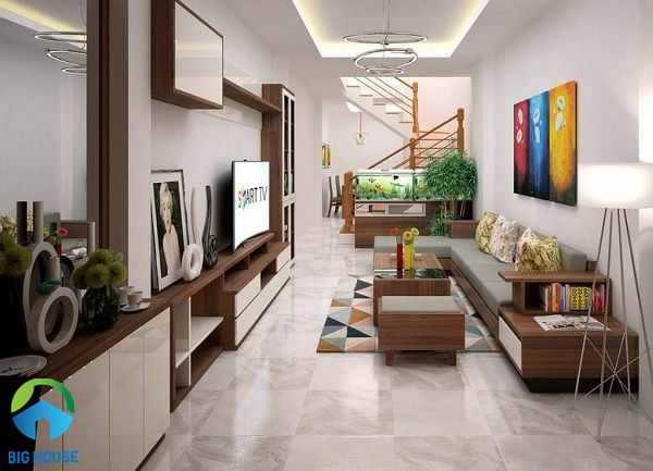 Gạch lát nền phòng khách nhà ống: TOP mẫu đẹp kèm cách phối màu