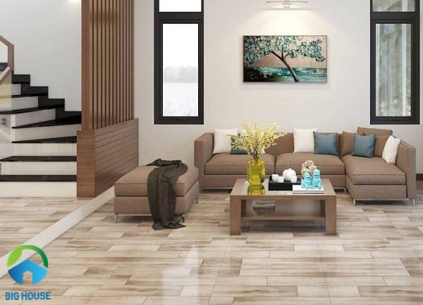mẫu gạch lát phòng khách nhà ống đẹp giả gỗ