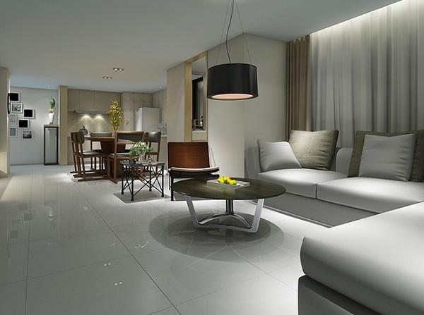 mẫu gạch phòng khách nhỏ màu ghi nhẹ nhàng cho không gian thoáng đãng