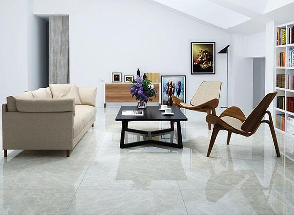Mẫu gạch vân đá bóng kiếng cho phòng khách nhỏ gọn gàng hơn