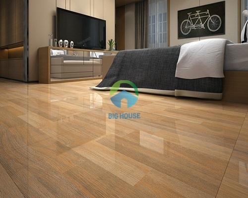 gạch lát nền phòng ngủ vân gỗ bóng kiếng