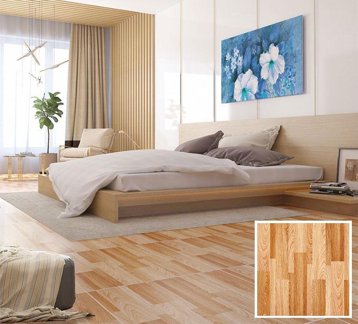 Mẫu gạch lát sàn phòng ngủ màu vân gỗ