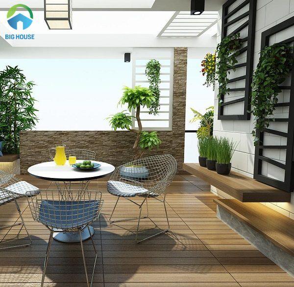 gạch lát sân thượng giả gỗ mang lại sự tự nhiên