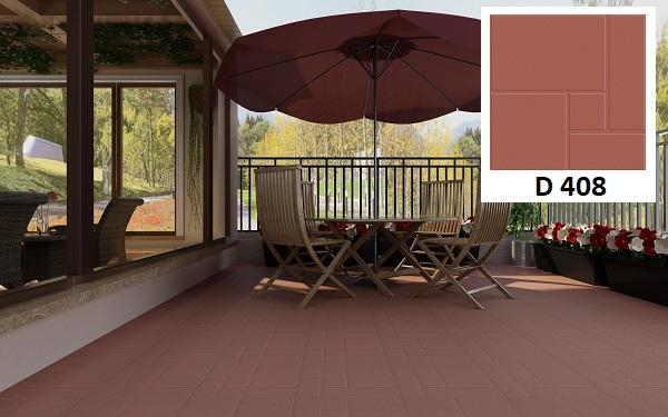 Mẫu gạch sân thượng Viglacera D408 với tông màu đỏ truyền thống được sử dụng tại rất nhiều công trình