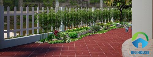 gạch lát sân vườn biệt thự 7