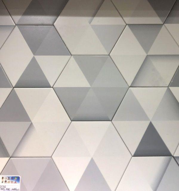 Mẫu gạch lục giác 6 màu họa tiết tam giác