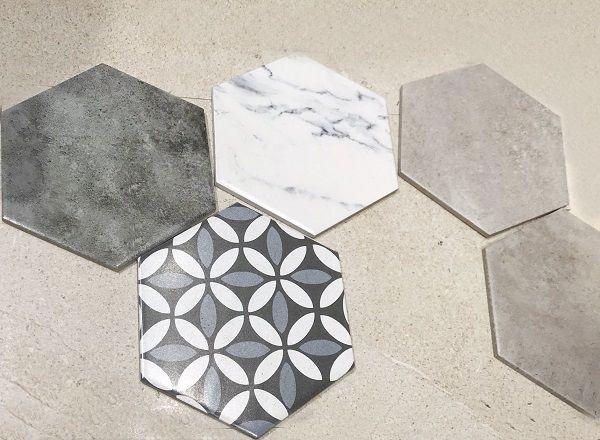 Các mẫu gạch lục giác vân đá calacatta, gạch bông, gạch trơn màu nâu nhạt