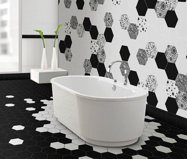 gạch trang trí màu đen trắng cho không gian phòng tắm