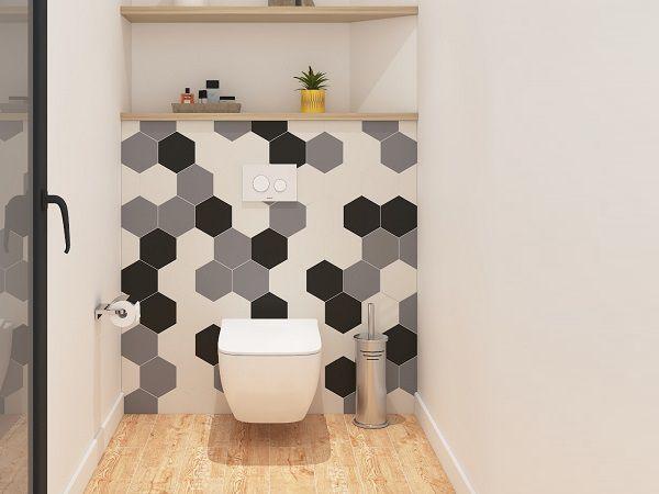 Gạch ốp đơn màu mang lại cảm giác thư giãn và sạch sẽ cho phòng tắm