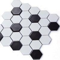 Mẫu gạch lục giác đen trắng độc đáo cho nhà bếp