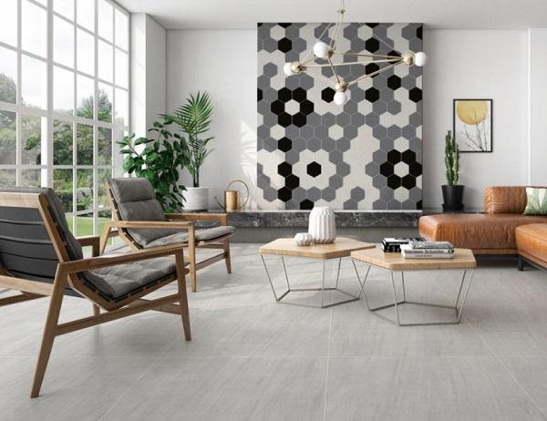 Kết hợp giữa 3 mẫu gạch xám - đen - trắng được để ốp trang trí cho tường phòng khách