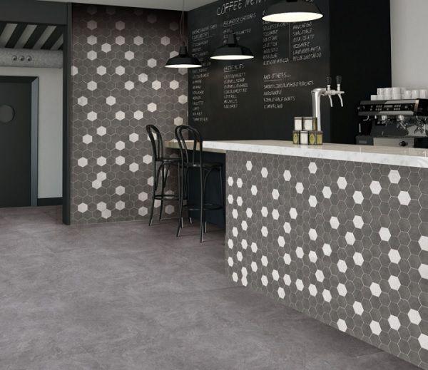 Gạch 6 cạnh được sử dụng để ốp quầy bar pha chế và tường ngăn cách